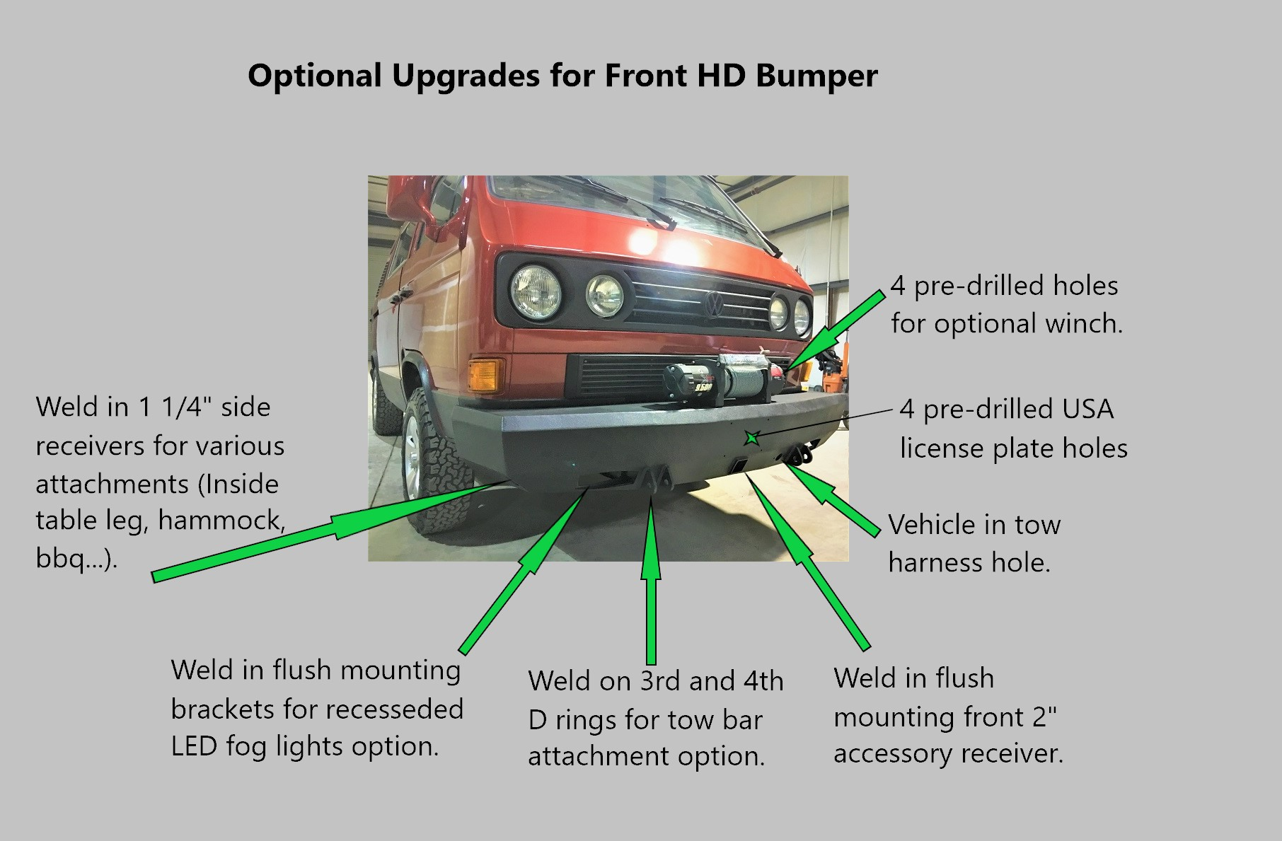 Volkswagen Westfalia Custom Bumpers Wiring Kit Instructions Westy World Heavy Duty Front Bumper